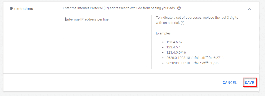 exclude ips in adwords
