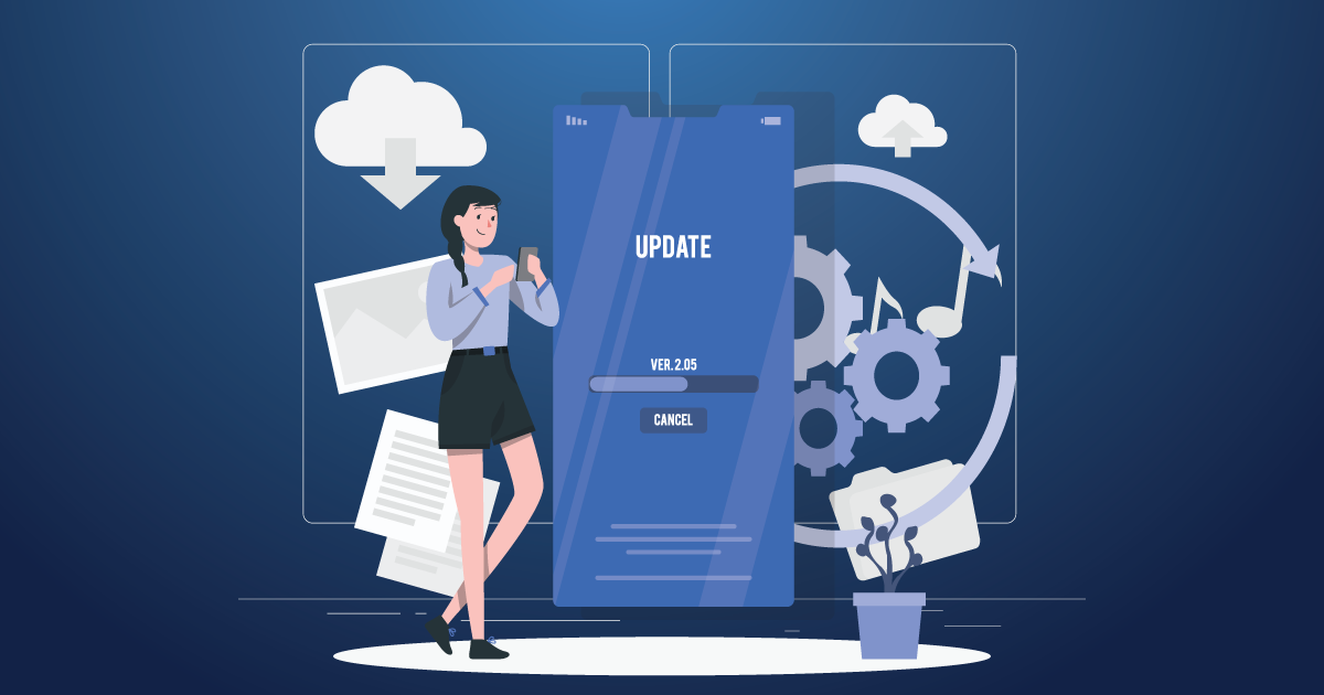 girl with update screen
