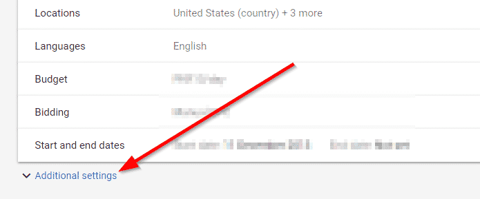 adwords settings screenshot