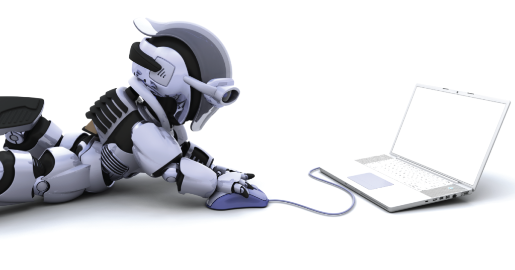 robot using laptop click fraud malware