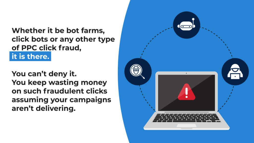 Bot farms and bot clicks contribute to click fraud
