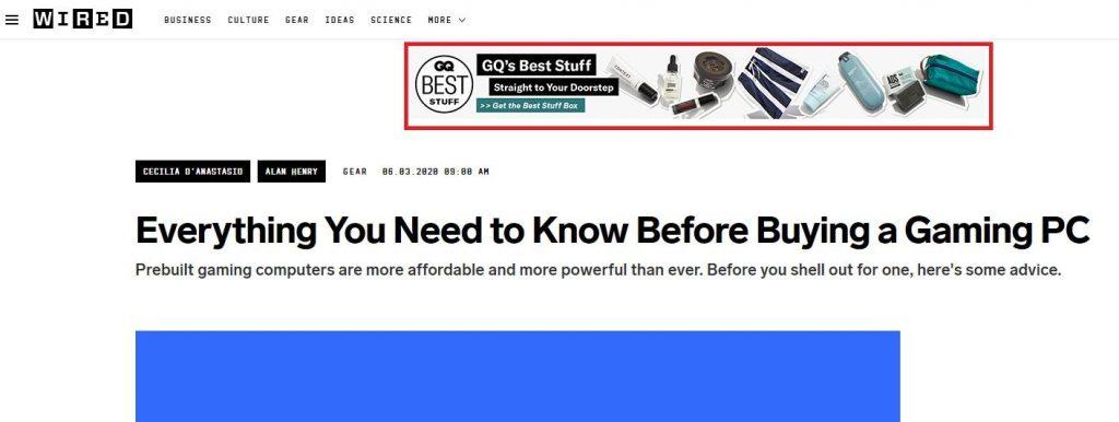 GQ's Google display ads banner
