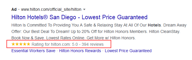 Hilton Google Ads Copy