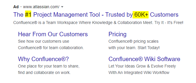 Atlassian Google Ads Copy