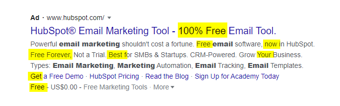 Hubspot Google Ads Copy