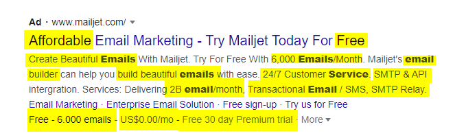 Mailerjet Google Ads Copy