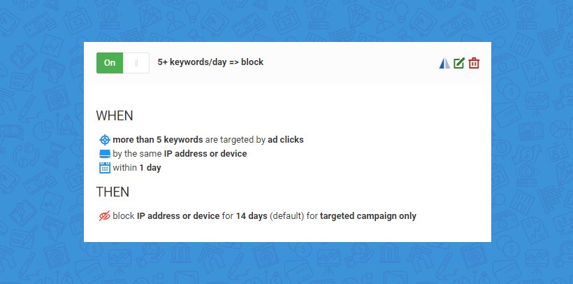 ClickGUARD rules: blocking keyword attacks