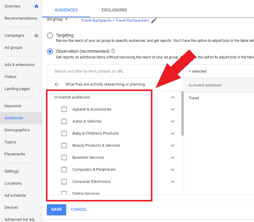 Google Ads in-market options
