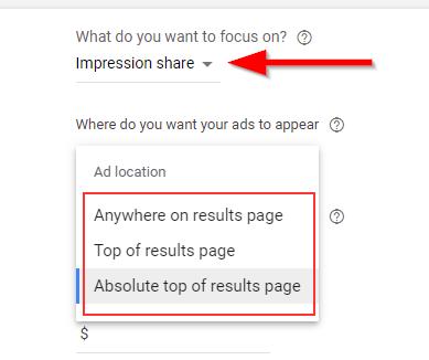 Google Ads Setting focus