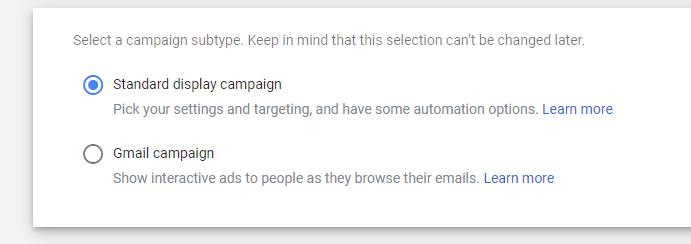 Google Ads setup display campaign