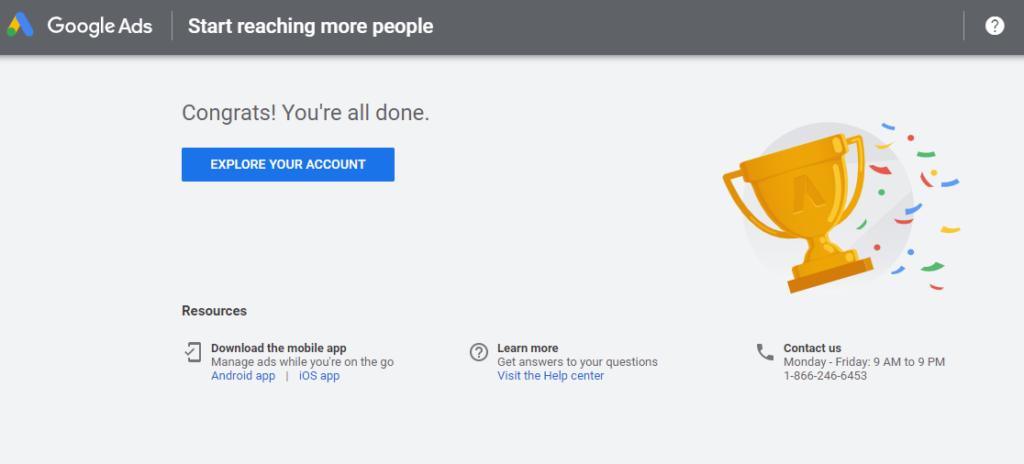 set up Google Ads account