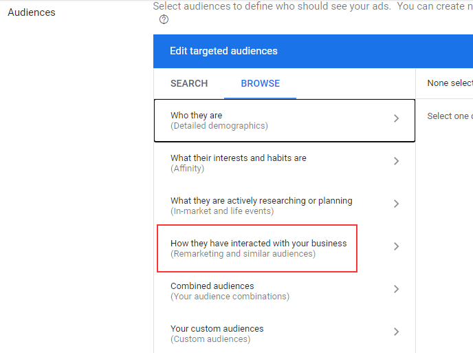 Google Ads remarketing targeting audiences
