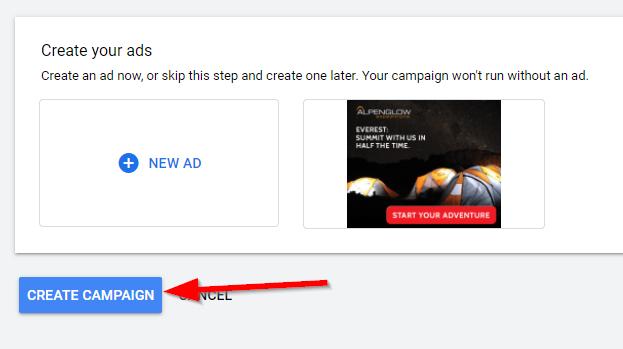 Google Display create campaign
