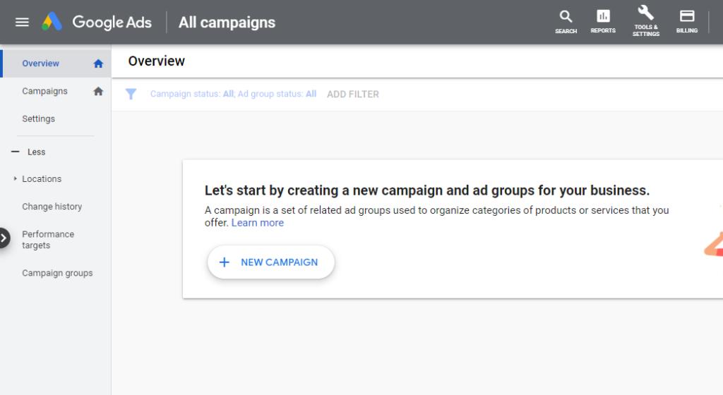 Google Ads dashboard