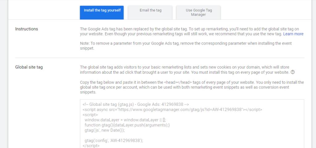 Install Google Remarketing Tag