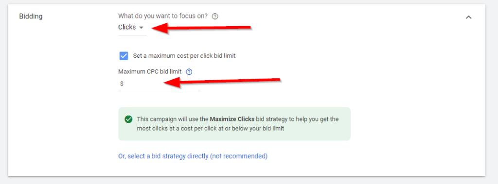 Budget and bidding setting in Google Ads 2