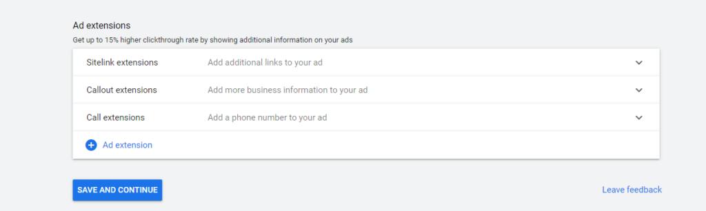 Google Ads extensions set up