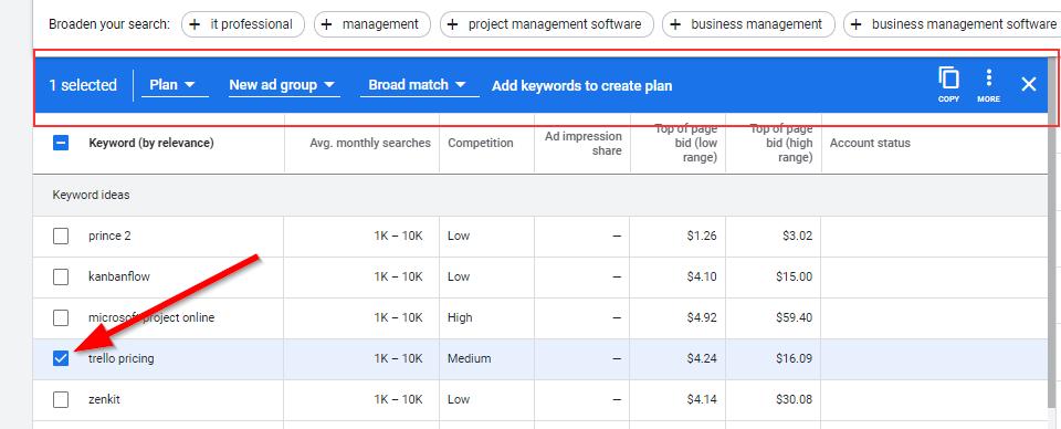 keyword planner campaigns