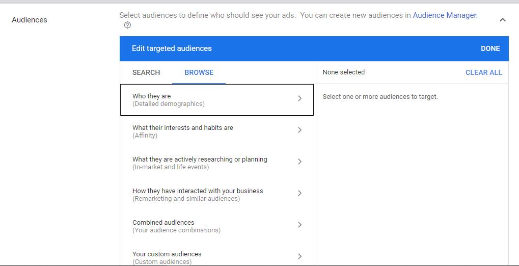 Google Display Ads Target Audiences