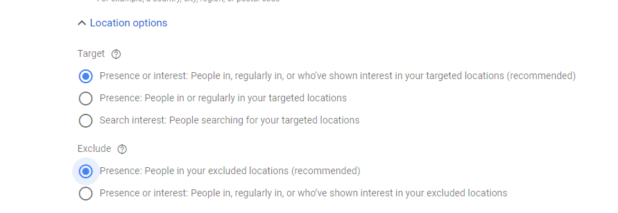 Google Ads Search Location Exclusion