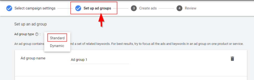 Set up ad groups in Google Ads