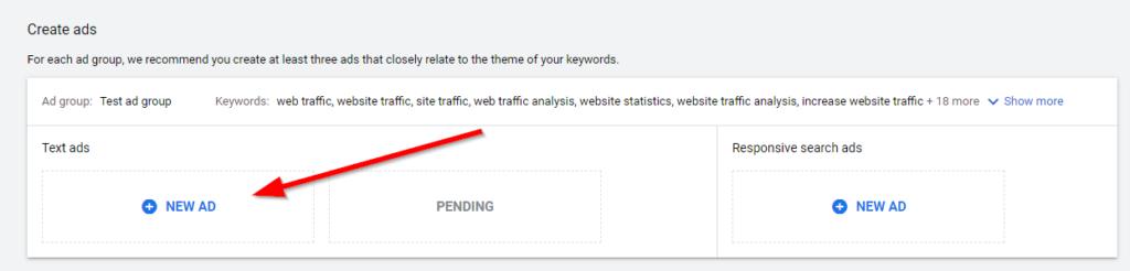 Create text ad Google Ads
