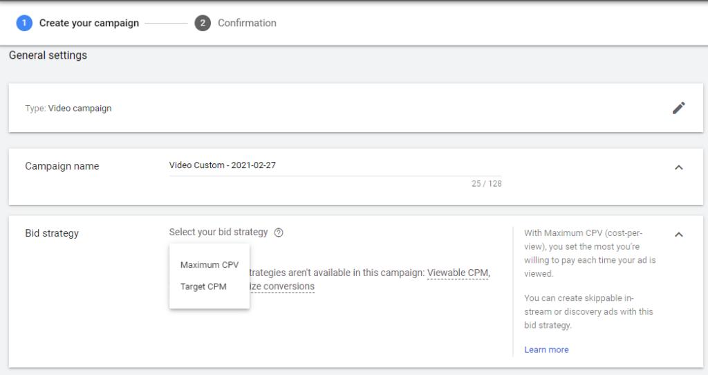 Google video campaign bid strategy