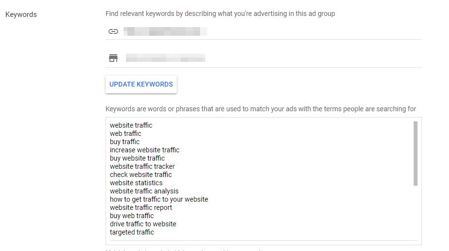 set up Google Ads keywords