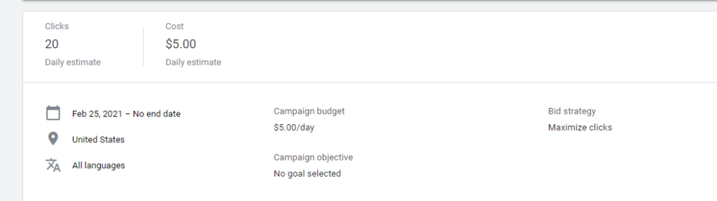Google Ads setup estimates