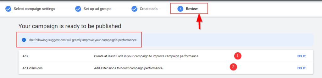 Google Ads Review Stage