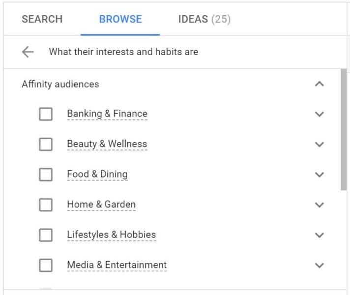 Google Ads affinity