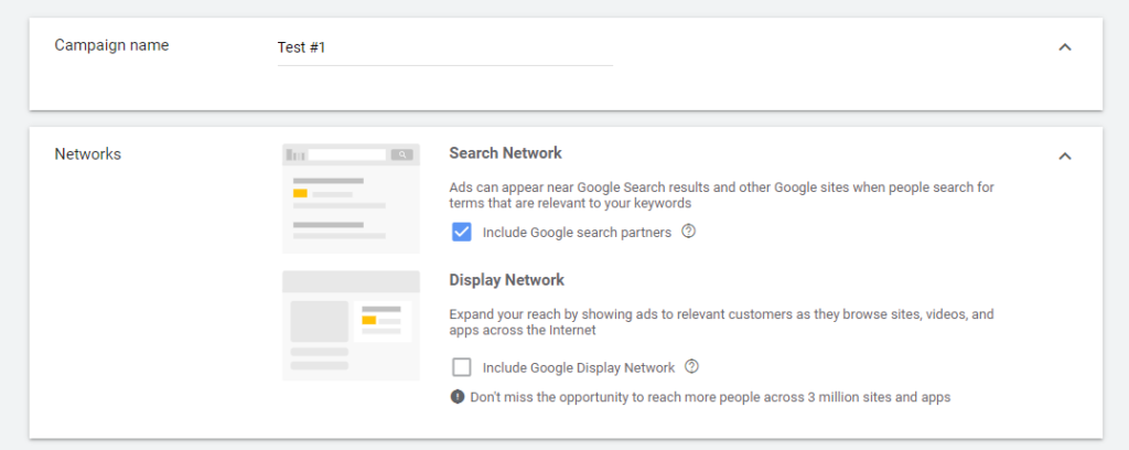Google Ads campaign settings search network