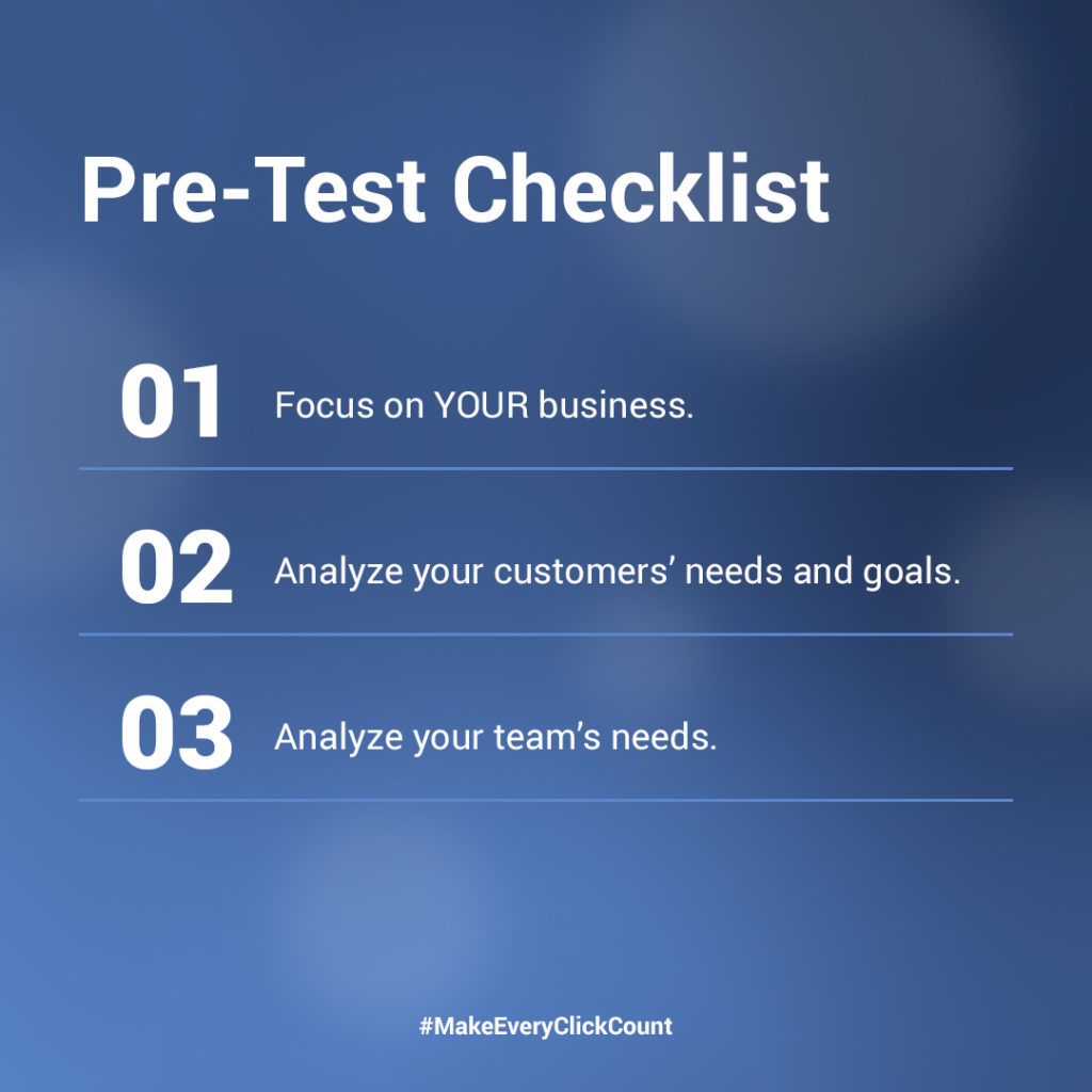 checklist for testing new software